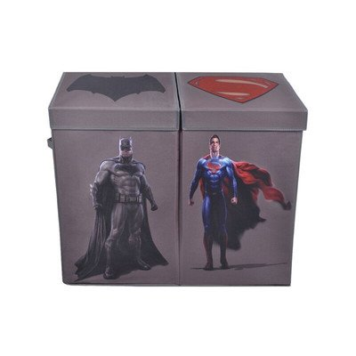 Modern Littles Batman vs. Superman Grey Character Folding Double Laundry Bin