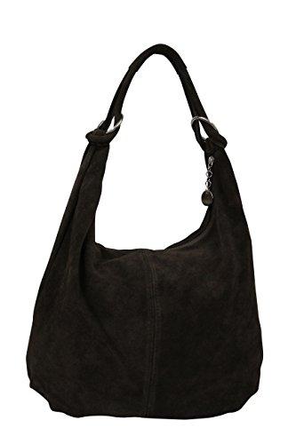 x bags cm 42 ladies shoulder 4 Handbag x 35 cm suede suede leather bag cm Black WL803 bag hobo ladies A4 Ambra Moda Xxn6Ow8Zt