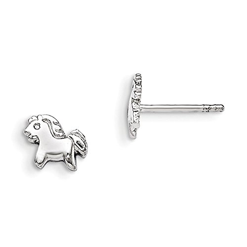 Sterling Silver Rhodium Plated Childs Polished Pony Post Earrings