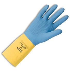 Cotton Ansell Gloves (Ansell Size 7 Blue/Yellow Chemi-Pro® Heavy Duty Unsupported 27 Mil Neoprene Over Natural Latex Cotton Flock-Lined 13