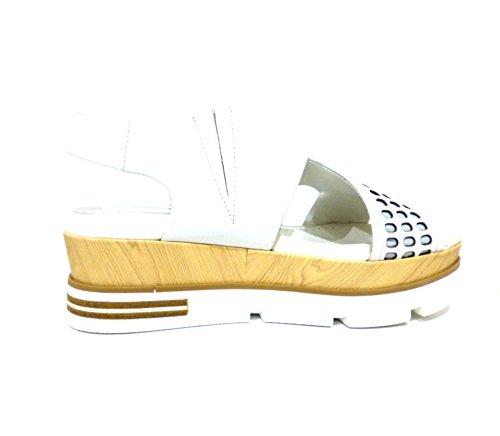 Sandali bianchi donna zeppa media con fondo in gomma pelle Bruno Premi F3901X