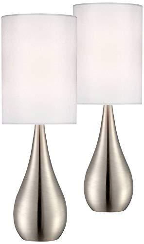 Evans Modern Accent Table Lamps Set of 2 Brushed Steel Teardrop White Cylinder Shade for Living Room Family Bedroom Bedside - 360 Lighting