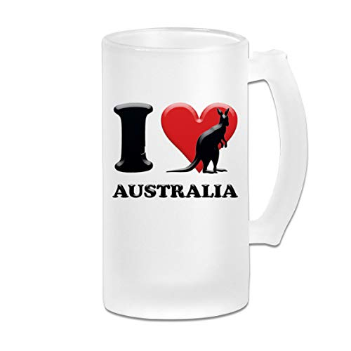 Negi I Love Kangaroo Australia 16 Oz Frosted Glass Stein Wine Beer Mug Wedding Gift]()