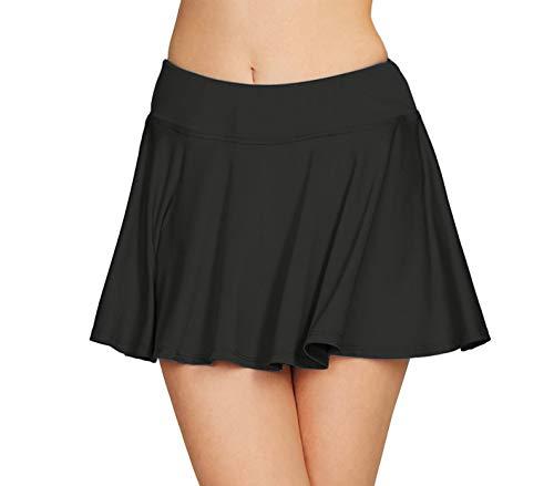 (Cityoung Women Running Golf Skort Plus Size Pocket Girl Athletic Tennis Skirt Shorts Underneath m Black )
