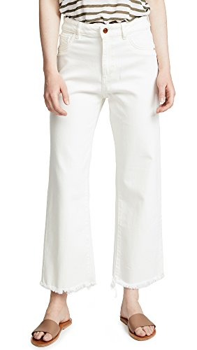 DL1961 Women's Hepburn High Rise Wide Leg Jeans, Eggshell, Off White, 27