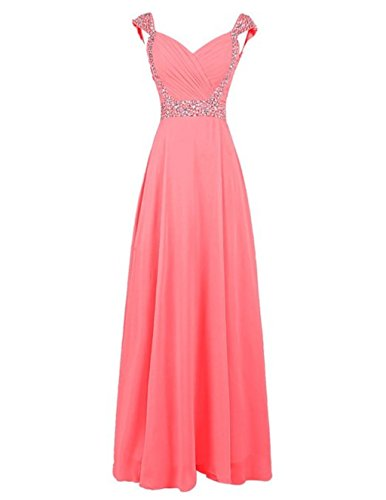 Chiffon Bridesmaid Women's Long Gowns Cap Dresses Fanciest Coral Prom Beaded Sleeve wfqHCR