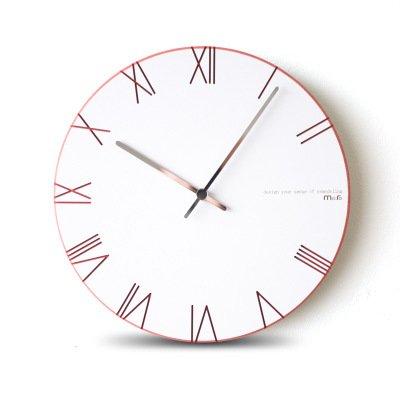 JQStar 木製 ローマ数字 壁掛け時計 北欧風  壁掛け時計 見易い シンプル 連続秒針 消音 面白い 壁掛け時計 創意  ファッション おしゃれ トレンディ 静音 石英 癒やし レーザー 彫刻 インテリア 3色選べる (レット) B078KB8HJ9レット