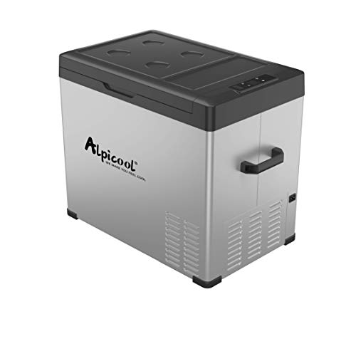 Alpicool C50 Portable Refrigerator 53 Quart(50 Liter) Vehicle, Car, Turck, RV, Boat, Mini Fridge Freezer for Travel, Outdoor and Home use -12/24V DC and 110-240 AC(Black and Silver)