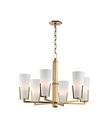 (Upton 6-Light Chandelier - Aged Brass Finish with Frosted Mouth-Blown Glass Shade)