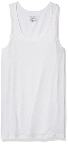 Tommy Hilfiger Men's Undershirts 4 Pack Cotton Classics a-Shirts, White, (Classic Cotton Ribbed Tank)