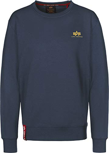 Molton New Basic Sweat Alpha Industries 435 Cotton spazzolato Smaill Logo Navy WUwqRzqF