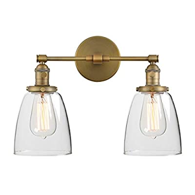 """Phansthy 2 Lights Wall Sconce Double Sconce Light Fixture with Dual 5.9"""" Handmade Globe Glass Lampshade"""