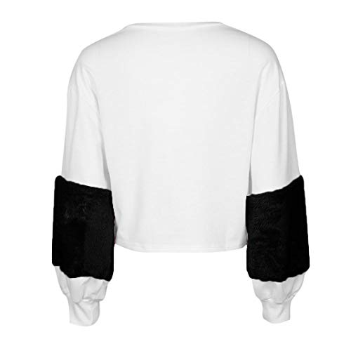 MEIbax Mujeres Sudaderas Patchwork Cashmere Hoodies Linterna Manga Pullovers Tops Blusa: Amazon.es: Ropa y accesorios