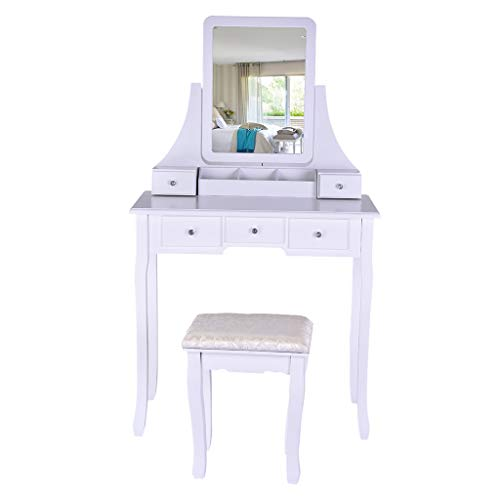 Sonmer Vanity Set with Mirror, Cushioned Stool, Storage Shelves, Drawers Dividers ,3 Style Optional, Shipped from US - Two Day Shipping (#1, White) by Sonmer (Image #1)