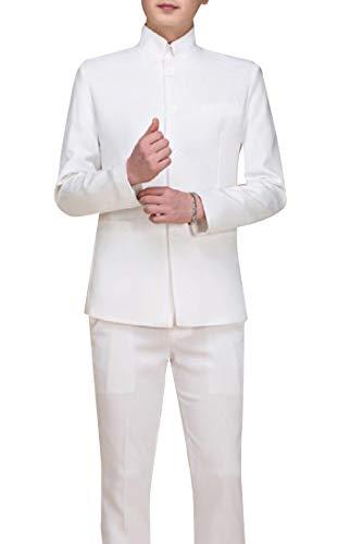 - Vska Men Slim Cut Dragon Print Tuxedo Suit 2 PC White M
