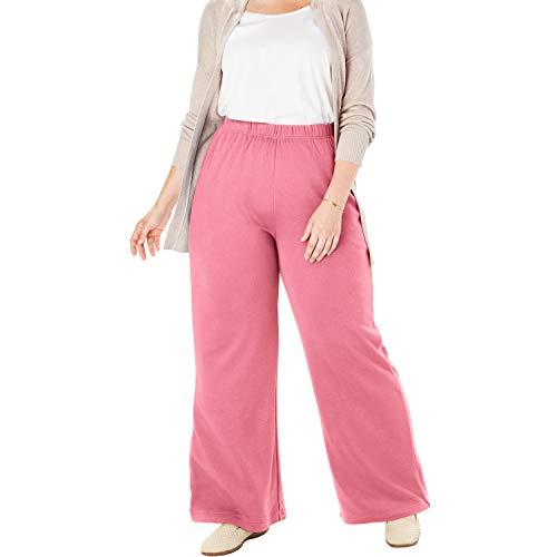 Woman Within Women's Plus Size Petite 7-Day Knit Wide Leg Pant - Rose Mauve, 1X