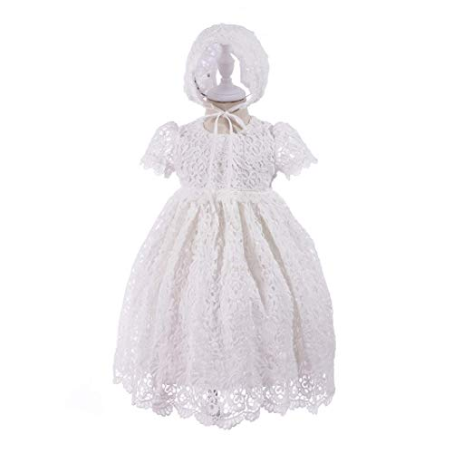 - HX Baby Girl's Princess Lace Short Sleeve Christening Baptism Gowns Long Dress with Bonnet (3M/0-6 Months, Ivory)
