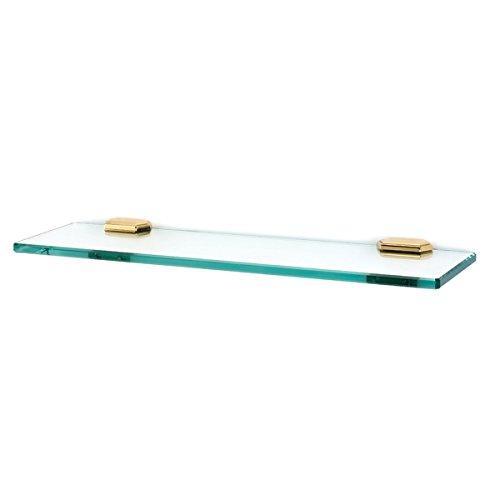 Alno A7750-18-PB Nicole Glass Shelf with Traditional Brackets, Polished Brass, 18