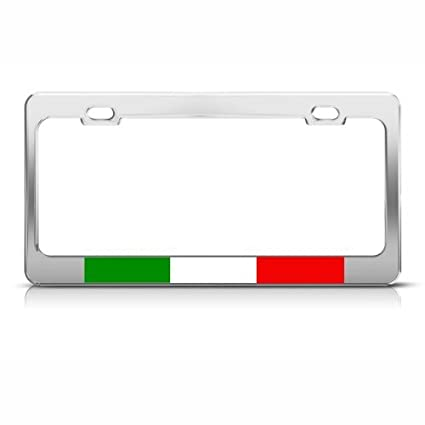 Amazon.com: Italian Flag Italy Country Metal License Plate Frame Tag ...