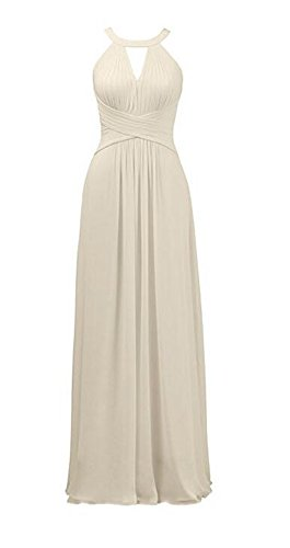 AK Wedding Champagne Halter Sleeveless Neck Chiffon Gown Long Dresses Beauty Bridesmaid Party RprqRB8