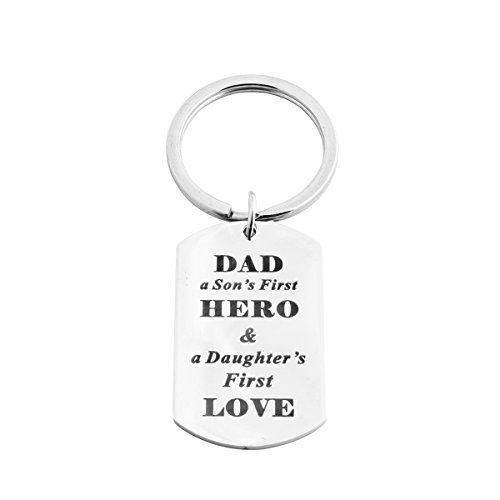 Meibai Fathers Gift Stamped Stainless Steel Dog Tag Pendant Keychain for Dad (Son's Hero Daughter's Love)