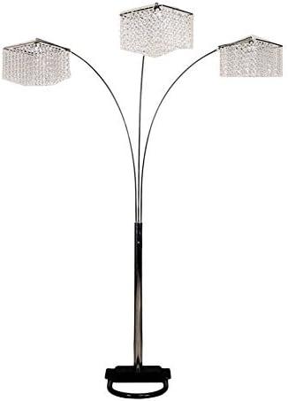 Elegant 3 Arc Round Drops Gem Crystal Floor Lamp 84″H 6932
