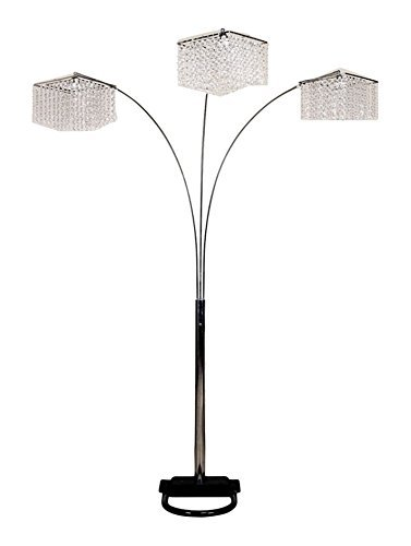 Major-Q 84 inches Tall Crystal Arms Arch Floor Lamp - Lamp measures provided A beautiful faux crystal inspired arch floor lamp 60 watts light bulbs required - living-room-decor, living-room, floor-lamps - 317NDVm08HL -