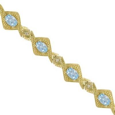5.63ct Antique Style Aquamarine and Diamond Link Bracelet 14k Yellow Gold
