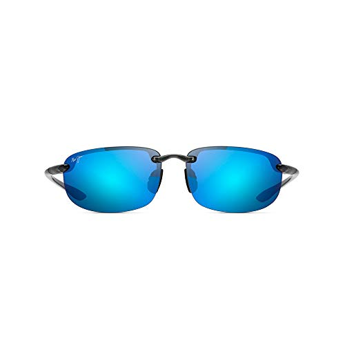 (Maui Jim Sunglasses | Ho'okipa B407-11 | Polarized Smoke Grey Rimless Frame, Blue Hawaii Lenses, with with Patented PolarizedPlus2 Lens Technology)