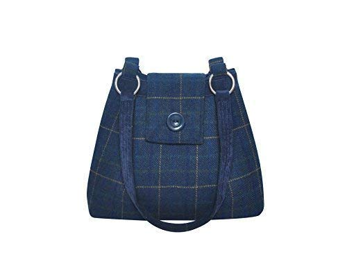 Marino Bolsa de Tweed Hombro Earth 34x26x10cms Bolso Squared Lana Azul Ava xCxHz1nq