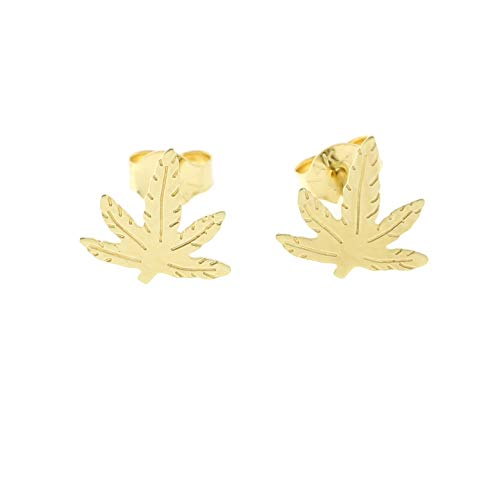 14k Yellow Gold Tiny Marijuana Leaf Stud Earrings, 7mm ()