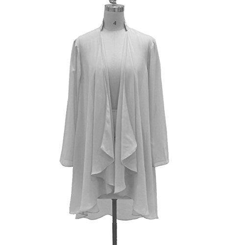 (Flybridal Women's Chiffon Shawl Wrap Coats Open Front Cardigan Bolero Shrug Jackets with Beading 22w White)