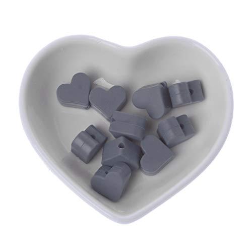 クラックポット未亡人撤退Landdum 10個シリコーンビーズ愛シリコーンティーザービーズ赤ちゃんのおもちゃdiyおしゃぶりチェーンアクセサリー - ディープピンク