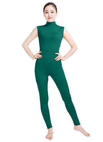 Womens Spandex Turtleneck Sleeveless Dance Unitard Costume Turquoise, - Unitard Turtleneck