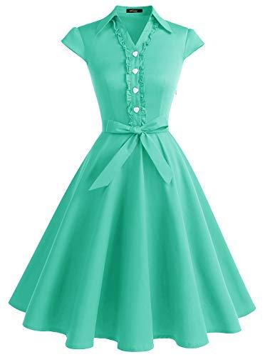 Wedtrend Women's 1950s Retro Rockabilly Dress Cap Sleeve Vintage Swing DressWTP10007TiffanyBlueXL