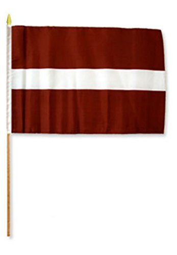 Knife Bravo Rescue (ALBATROS 12 inch x 18 inch (Pack of 3) Latvia Stick Flag with Wood Staff for Home and Parades, Official Party, All Weather Indoors Outdoors)
