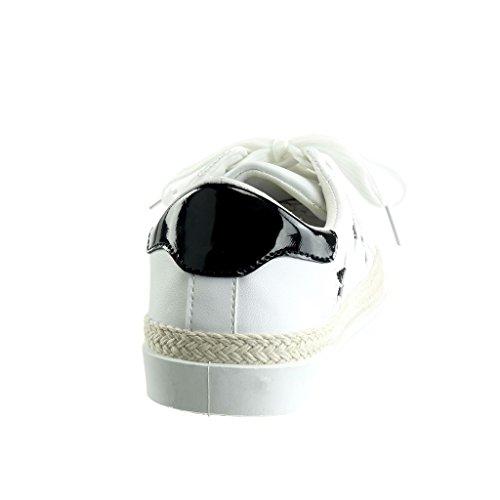 Angkorly - Chaussure Mode Baskets Tennis basse femme etoile pailettes brillant Talon plat 1.5 CM - Noir