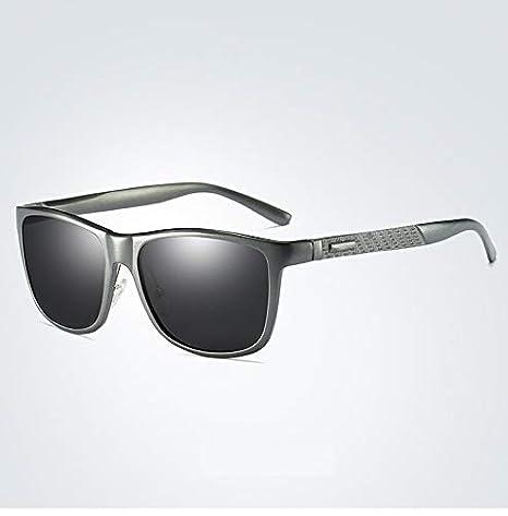 HUBINGRONG Aluminio Magnesio Polarizador Masculino Conducción UV400 Gafas de protección Gafas de Conductor Gafas de Sol Simples para Hombres Moda Gente ...