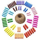 Mini Clothespins,100 Pcs Small Colored Wooden Clothespins with 30M Jute Twine,3.5cm Sturdy Photo Pictures Craft Clips
