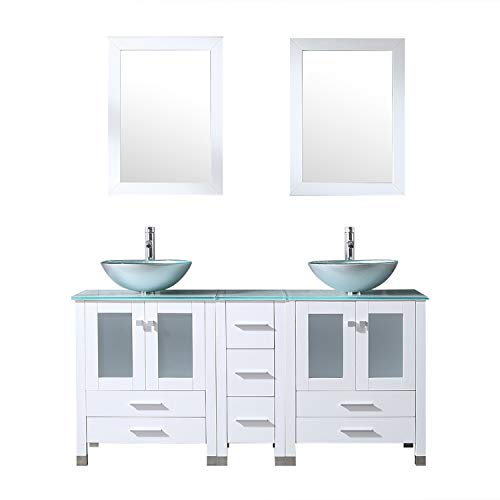 Walcut 60Inch White Bathroom Vanity and Sink Combo Solid MDF Cabinet with - With Bronze Mirrors Oak Dark Bathroom Cabinets