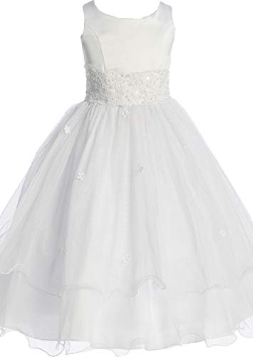 Flower Girl Dress First Communion Sleeveless Embroidery Tulle Dress Big Girl White 8 KD.198]()