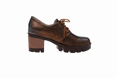 Lace Carolbar Up Fashion Chunky Heel Mid Bronze Shoes Retro Oxfords Popular Womens nSxHFgS
