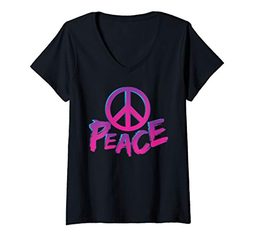 Womens World Peace Sign Retro Throwback Hippie Gift V-Neck T-Shirt ()