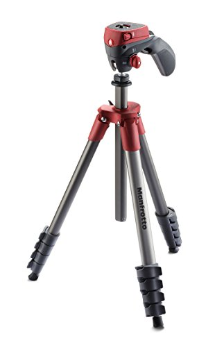 Manfrotto Compact Action Aluminum 5-Section Tripod Kit with Hybrid Head, Red (MKCOMPACTACN-RD)