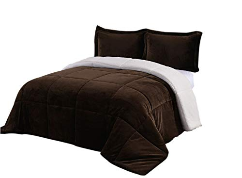 Chezmoi Collection FS200 3-Piece Micromink Sherpa Reversible Down Alternative Comforter Set (King, Chocolate)