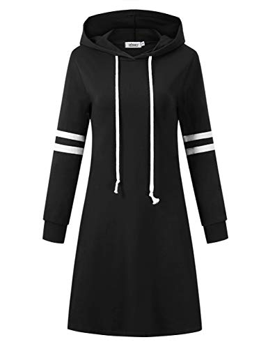 MISSKY Women Pullover Stripe Pocket Keen Length Slim Sweatshirt Casual Hoodie Dress (L, Black-2)