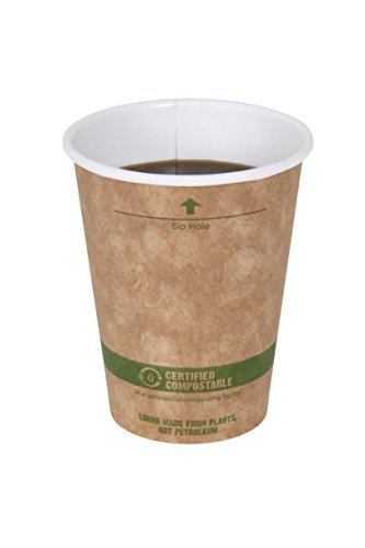 World Centric 100% Biodegradable, 100% Compostable Paper PLA-Lined 8 Ounce Kraft Coffee Hot Cup, 100 (Pla Hot Cups)