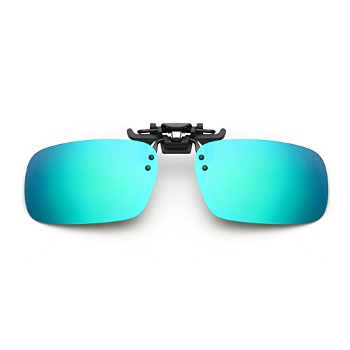 Tacloft Men's Rectangle 58mm Clip on Sunglasses Driving Outdoor Sports Glsses CLIPON001 Green Blue - Ophthalmic Glasses
