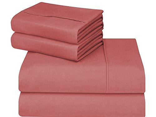 CASA COPENHAGEN Edition 2019 Eternal Collection 500 Thread-Count Egyptian Cotton 4 Pieces Queen Bed Sheet Pillow Case Set, Peach