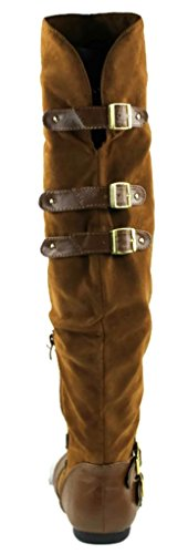 Kali Footwear Jazz Over-the-knee Flat Buckle Botas Walnut